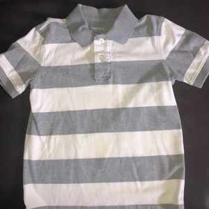 EUC Gap Kids gray & white striped polo S 6/7
